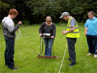 Community archaeology, town students conduct resistivity surveys in Wigan Rectory grounds, 2009